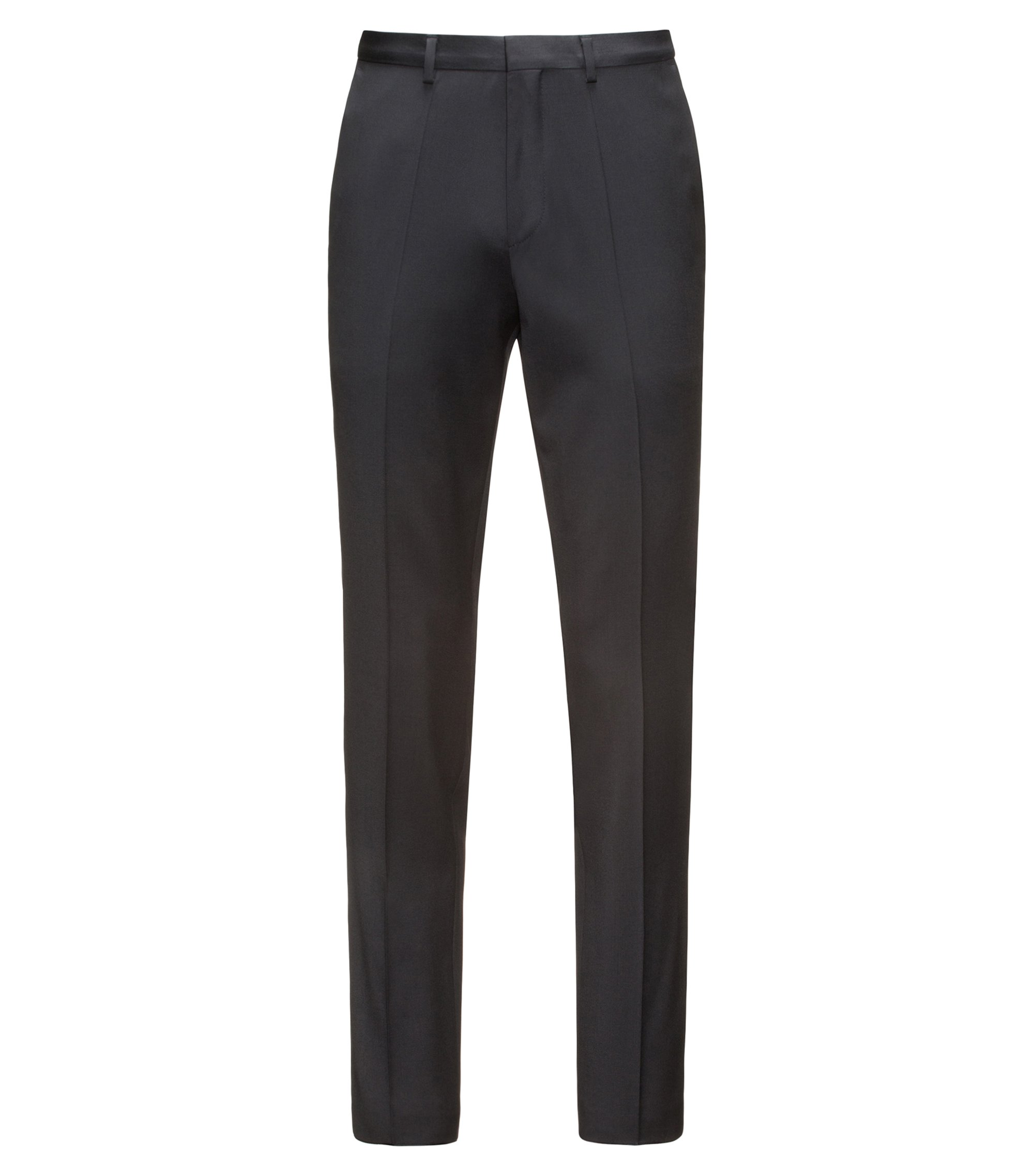 Extra-slim-fit trousers in virgin wool twill with natural stretch, Black