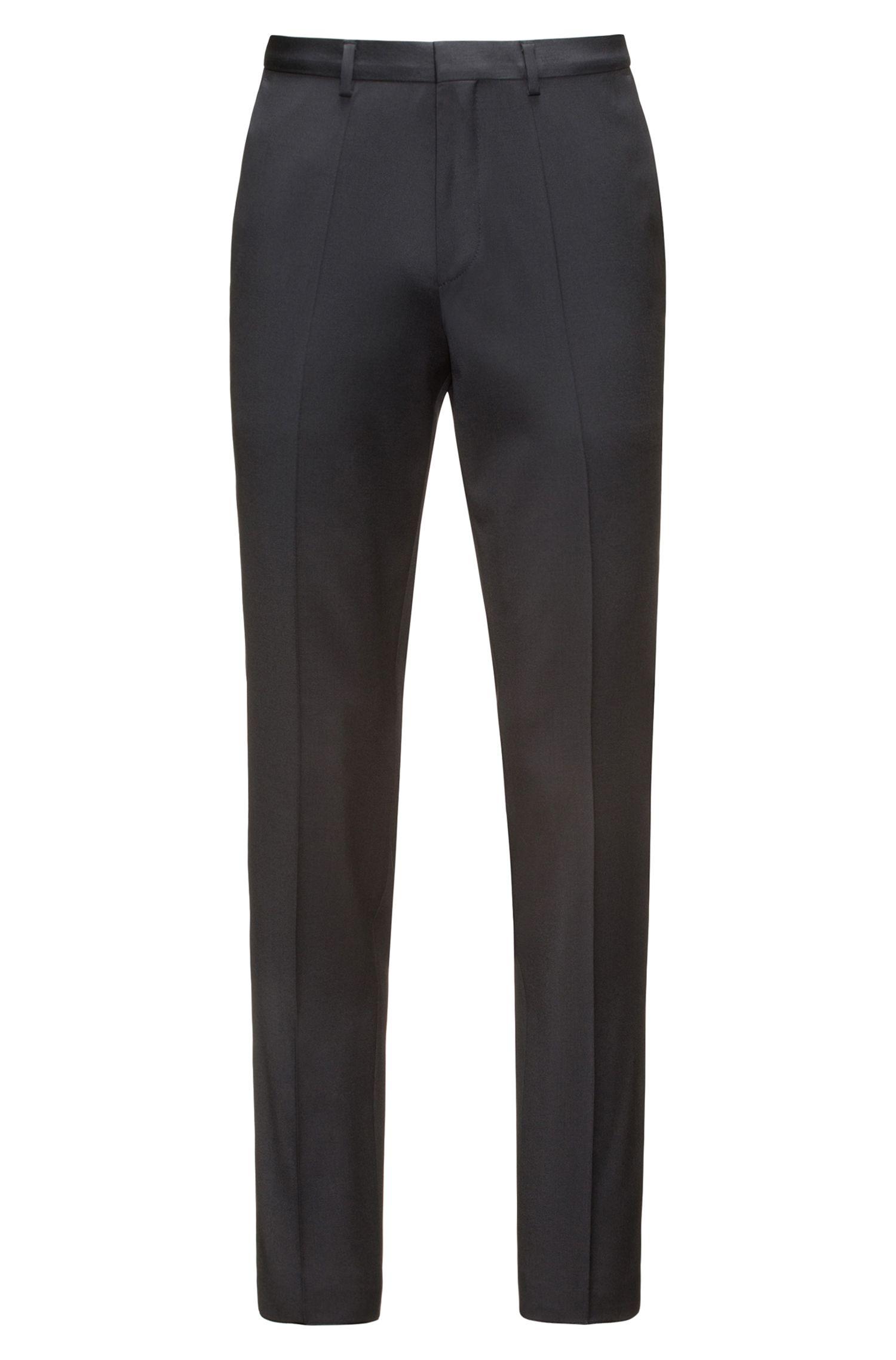 Pantaloni extra slim fit in twill di lana vergine con elasticità naturale