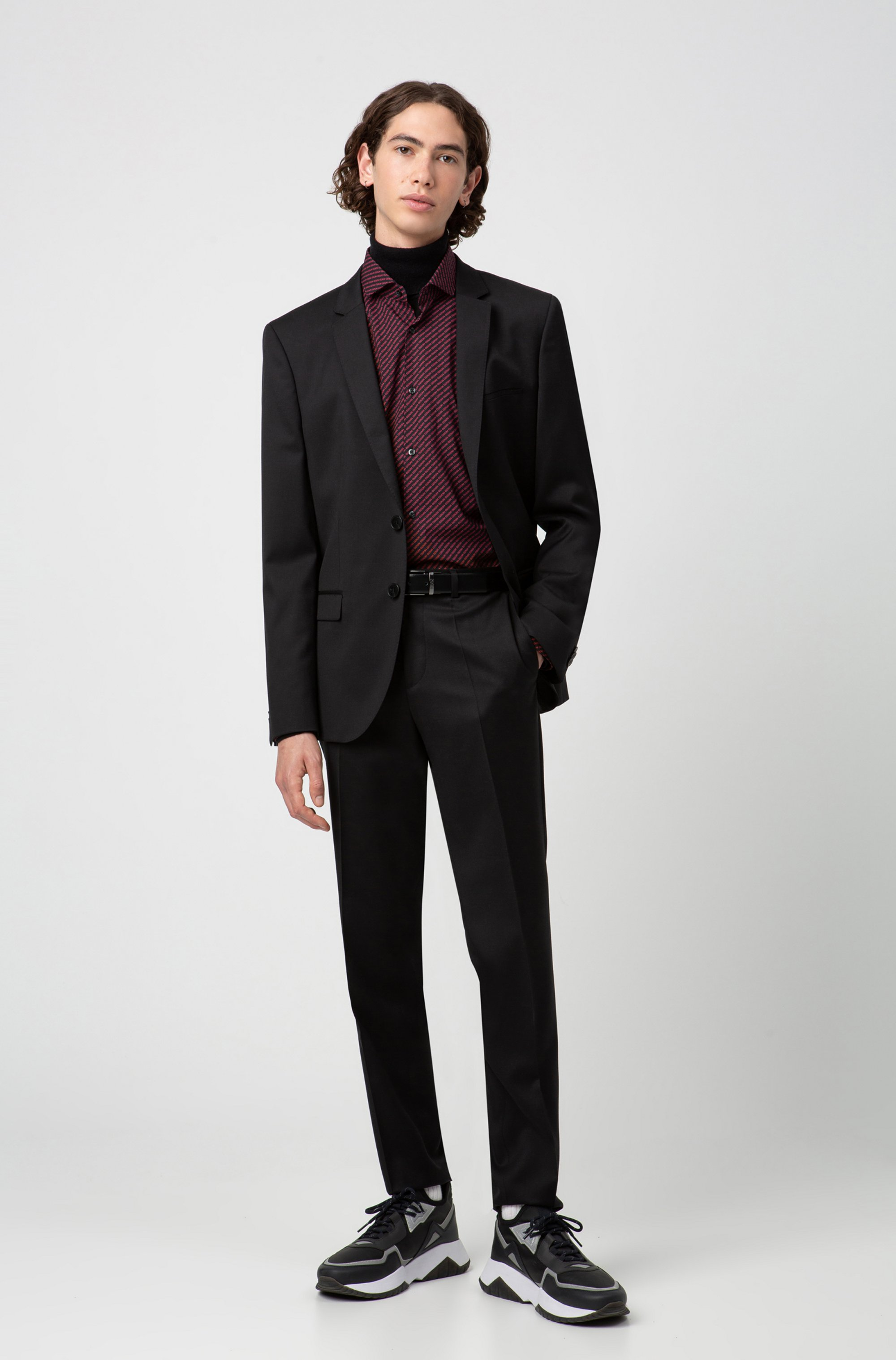 Extra-slim-fit trousers in virgin-wool twill