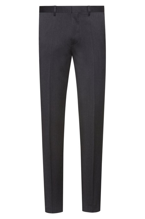 Extra-slim-fit trousers in virgin-wool twill, Anthracite