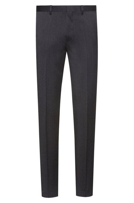 Extra slim-fit broek van gekeperde scheerwol, Antraciet