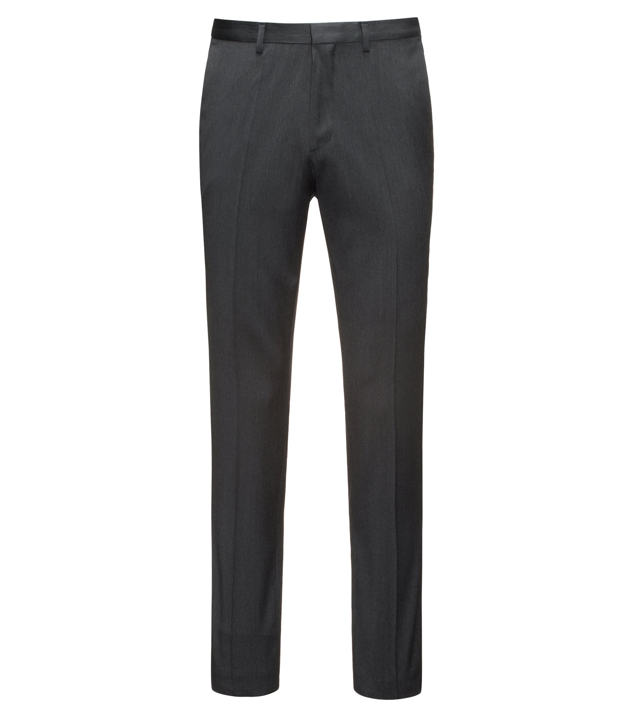Extra-slim-fit trousers in virgin wool twill with natural stretch, Anthracite