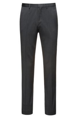 Pantalon Extra Slim Fit en twill de laine vierge naturellement extensible, Anthracite
