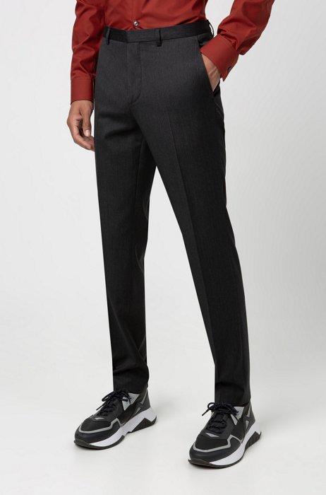 Pantalones extra slim fit en sarga de lana virgen, Gris oscuro