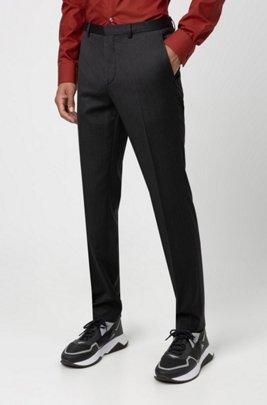 Extra slim-fit broek van gekeperde scheerwol, Donkergrijs