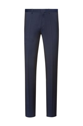 Pantaloni extra slim fit in twill di lana vergine, Blu scuro