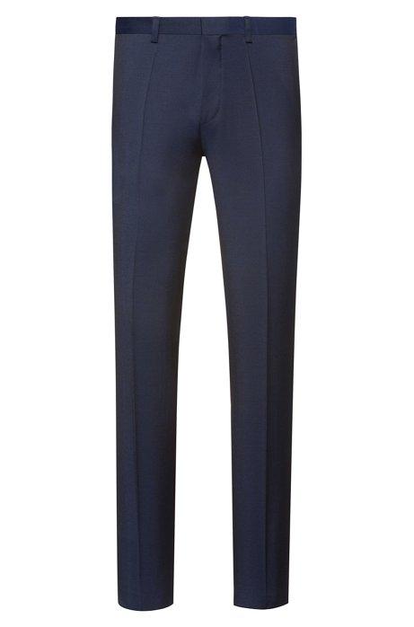 Pantalon Extra Slim Fit en twill de laine vierge, Bleu foncé