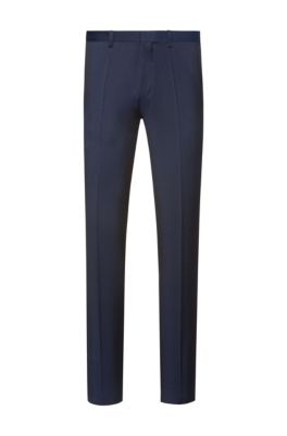Extra-slim-fit trousers in virgin-wool twill, Dark Blue