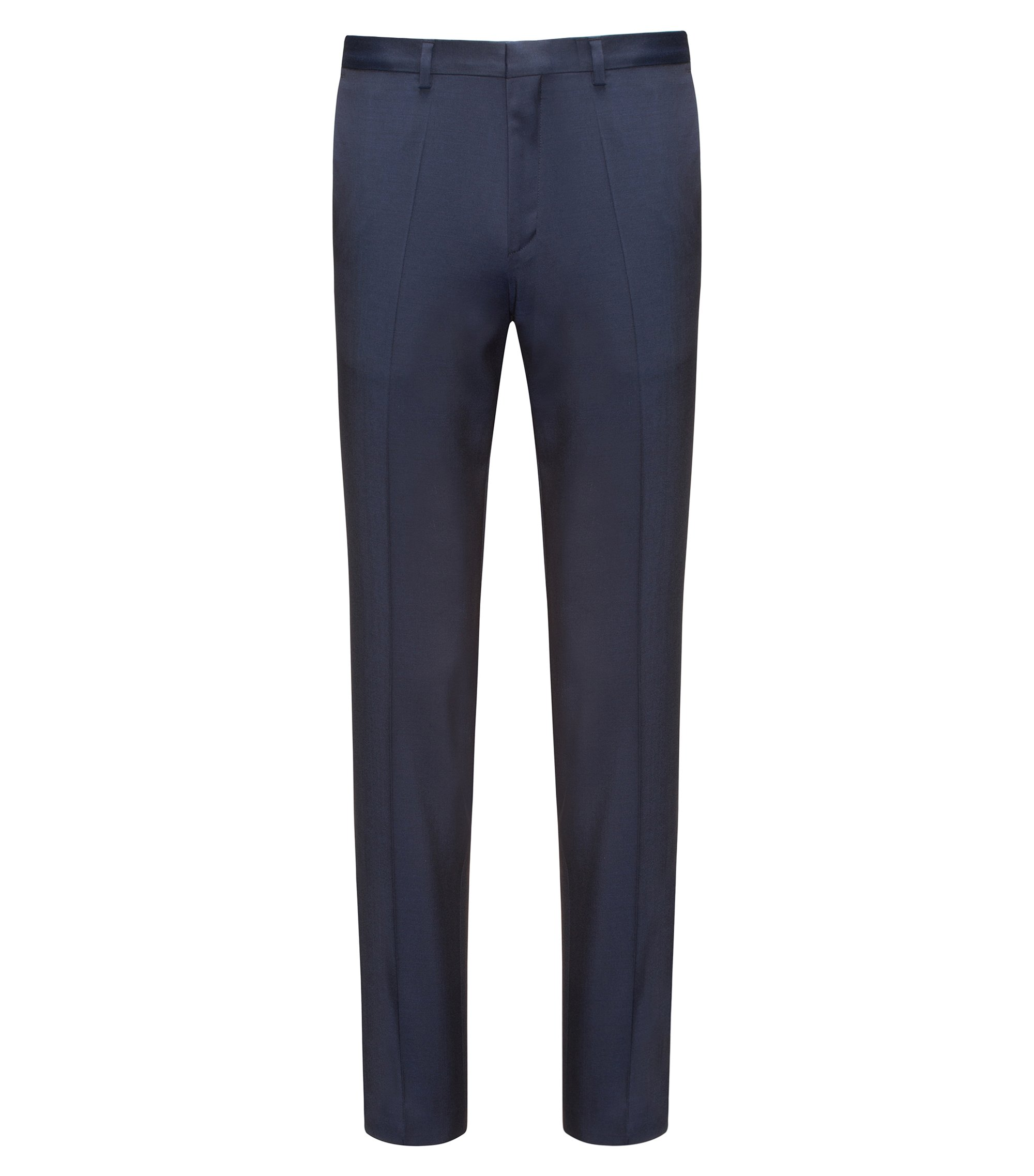 Extra-slim-fit trousers in virgin wool twill with natural stretch, Dark Blue