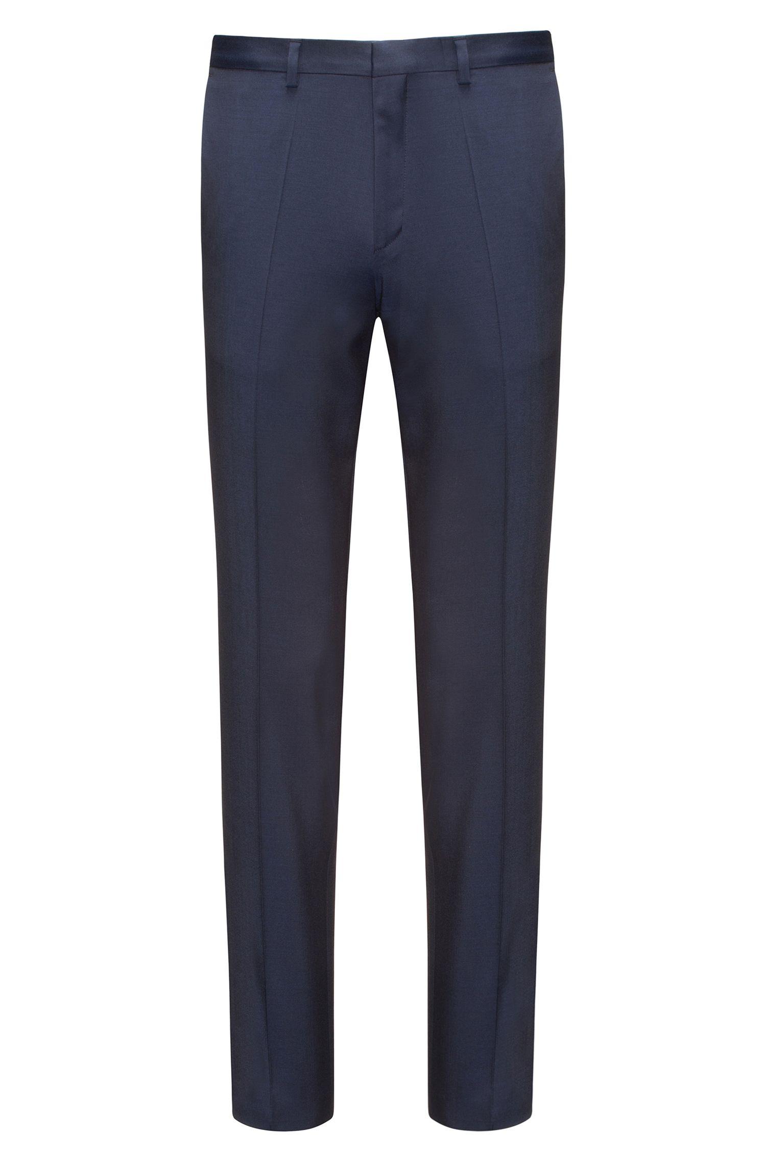 Extra slim-fit broek in een scheerwoltwill met natuurlijke stretch, Donkerblauw