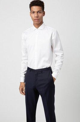 Extra slim-fit broek van gekeperde scheerwol, Donkerblauw