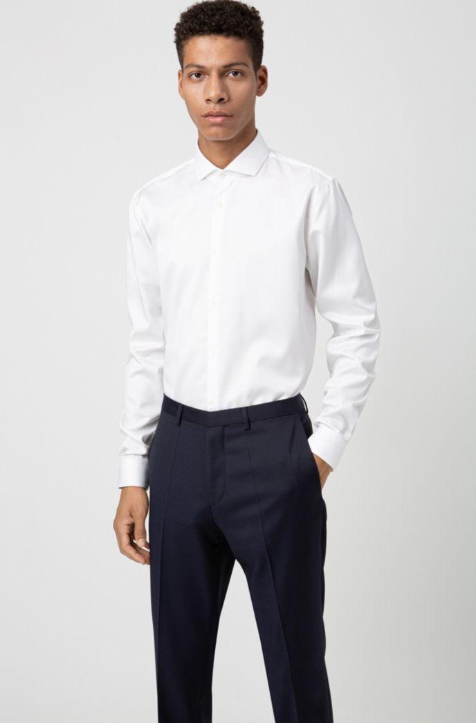 Extra slim-fit broek van gekeperde scheerwol