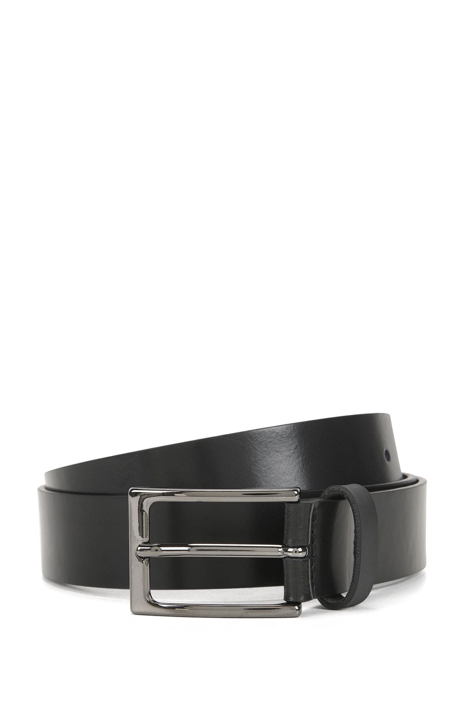 Matt leather belt with polished gunmetal pin buckle