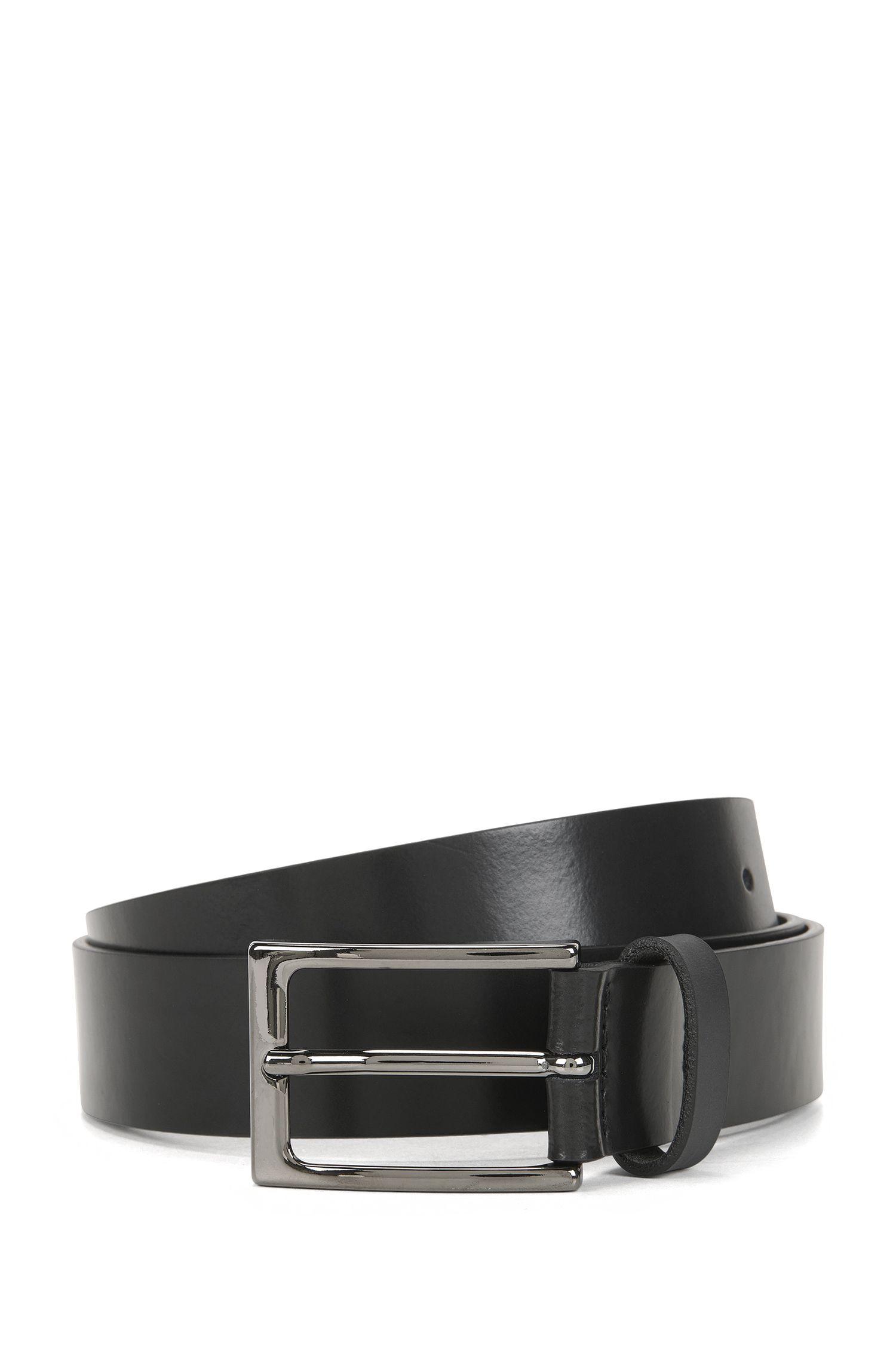 Matt leather belt with polished gunmetal pin buckle