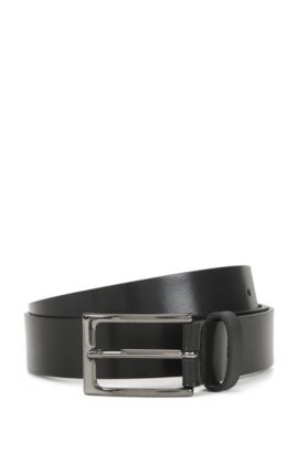 Matt leather belt with polished gunmetal pin buckle, Black