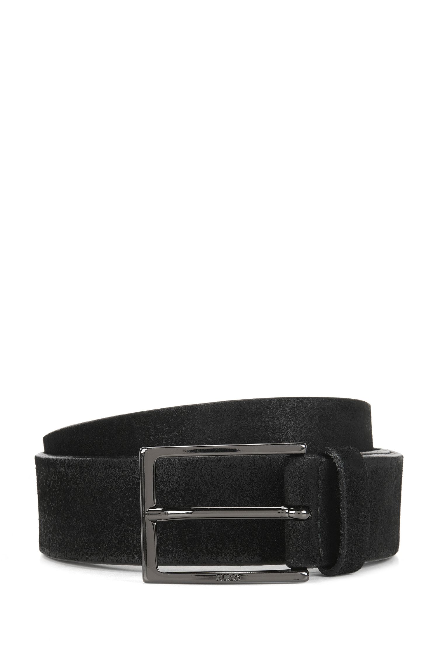 Brushed suede belt with polished gunmetal pin buckle
