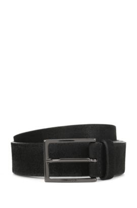 Brushed suede belt with polished gunmetal pin buckle, Black