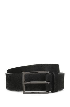 Brushed suede belt with polished gunmetal pin buckle, Black