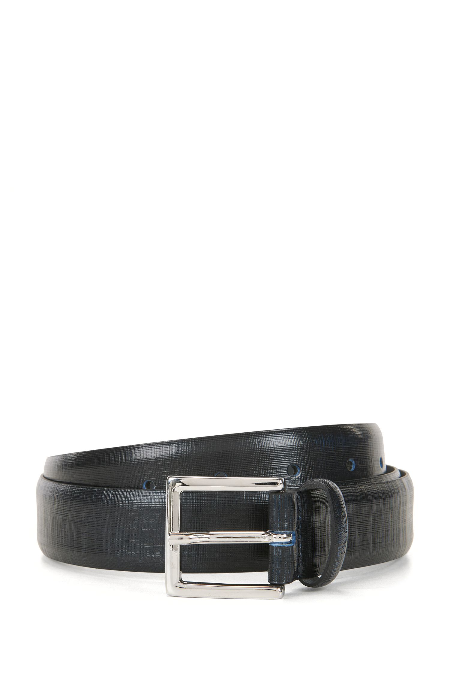 Two-tone belt in textured leather