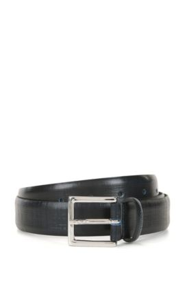 Two-tone belt in textured leather, Dark Blue