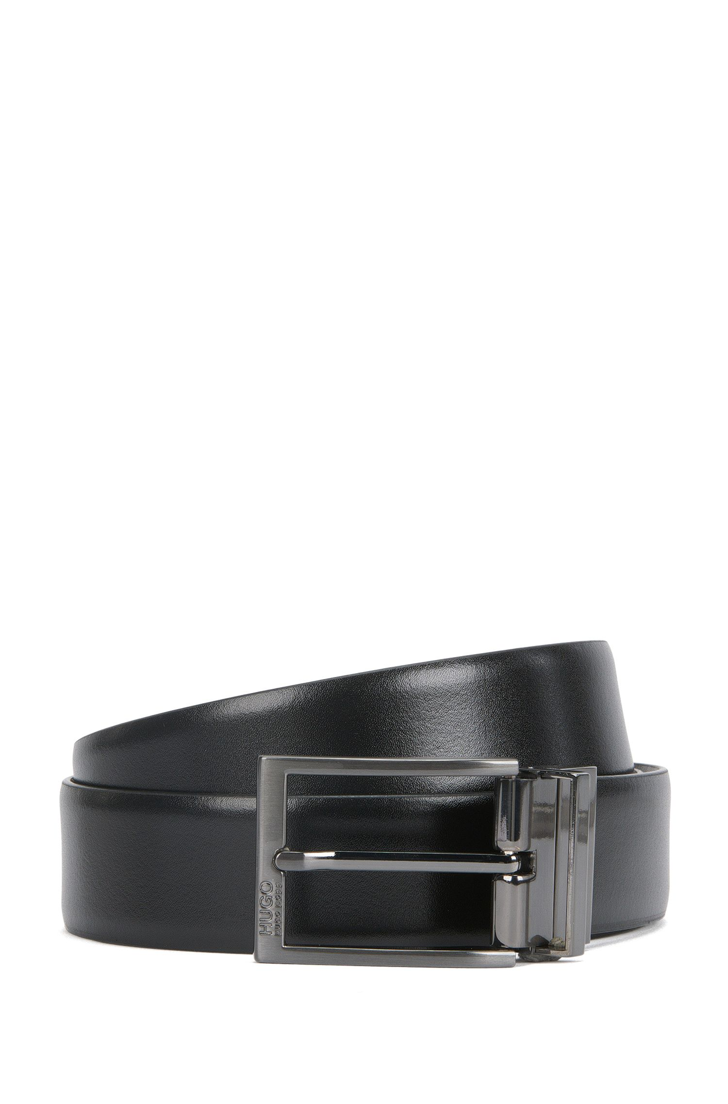 Reversible leather belt with brushed gunmetal hardware