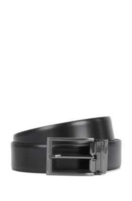 Reversible leather belt with brushed gunmetal hardware, Black