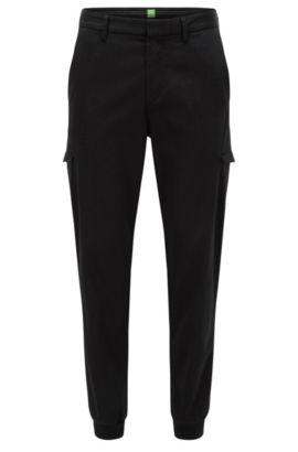 Pantalon cargo Slim Fit en coton mélangé, Noir