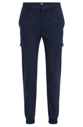 Slim-fit cargo trousers in a cotton blend, Dark Blue
