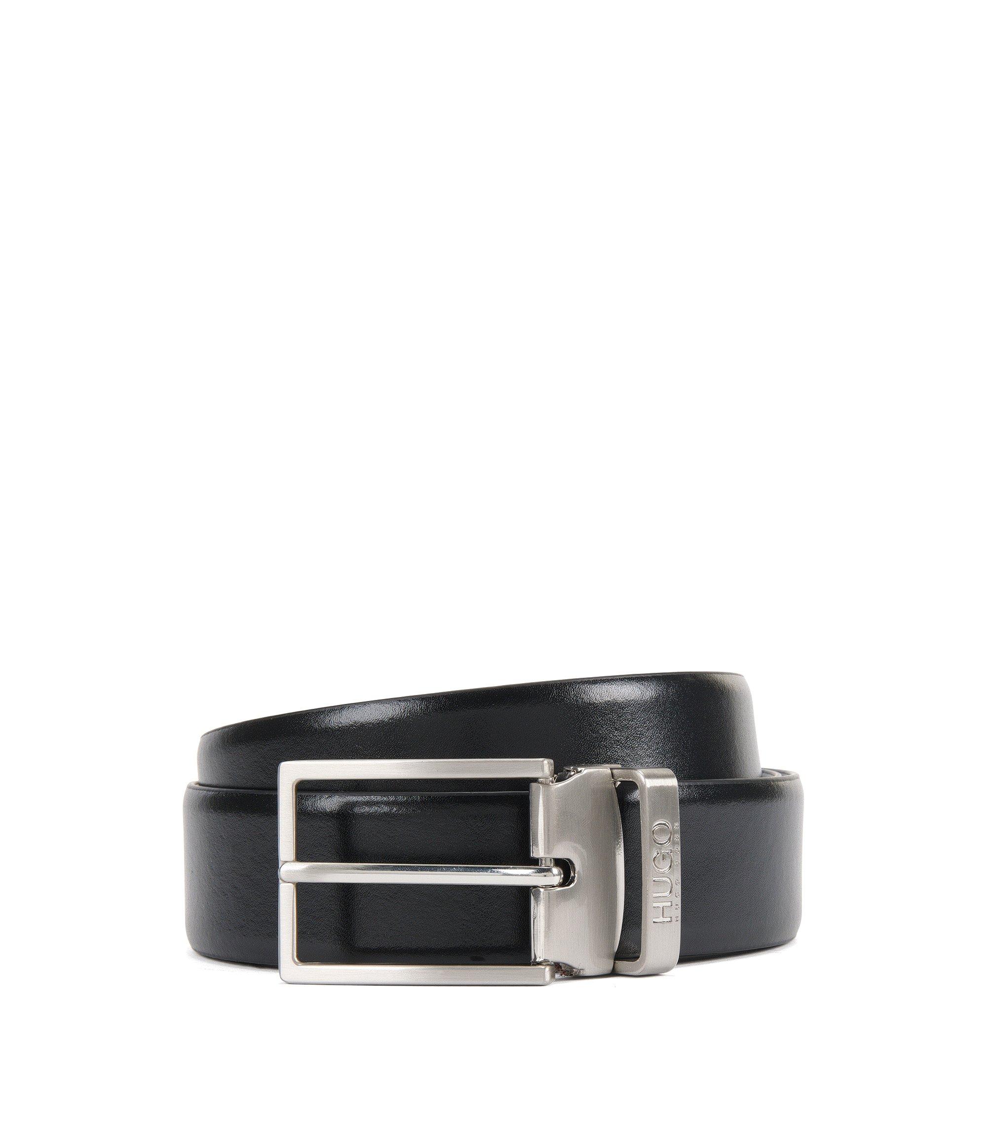 Cinturón reversible de piel con hebilla doble en metal cepillado, Negro