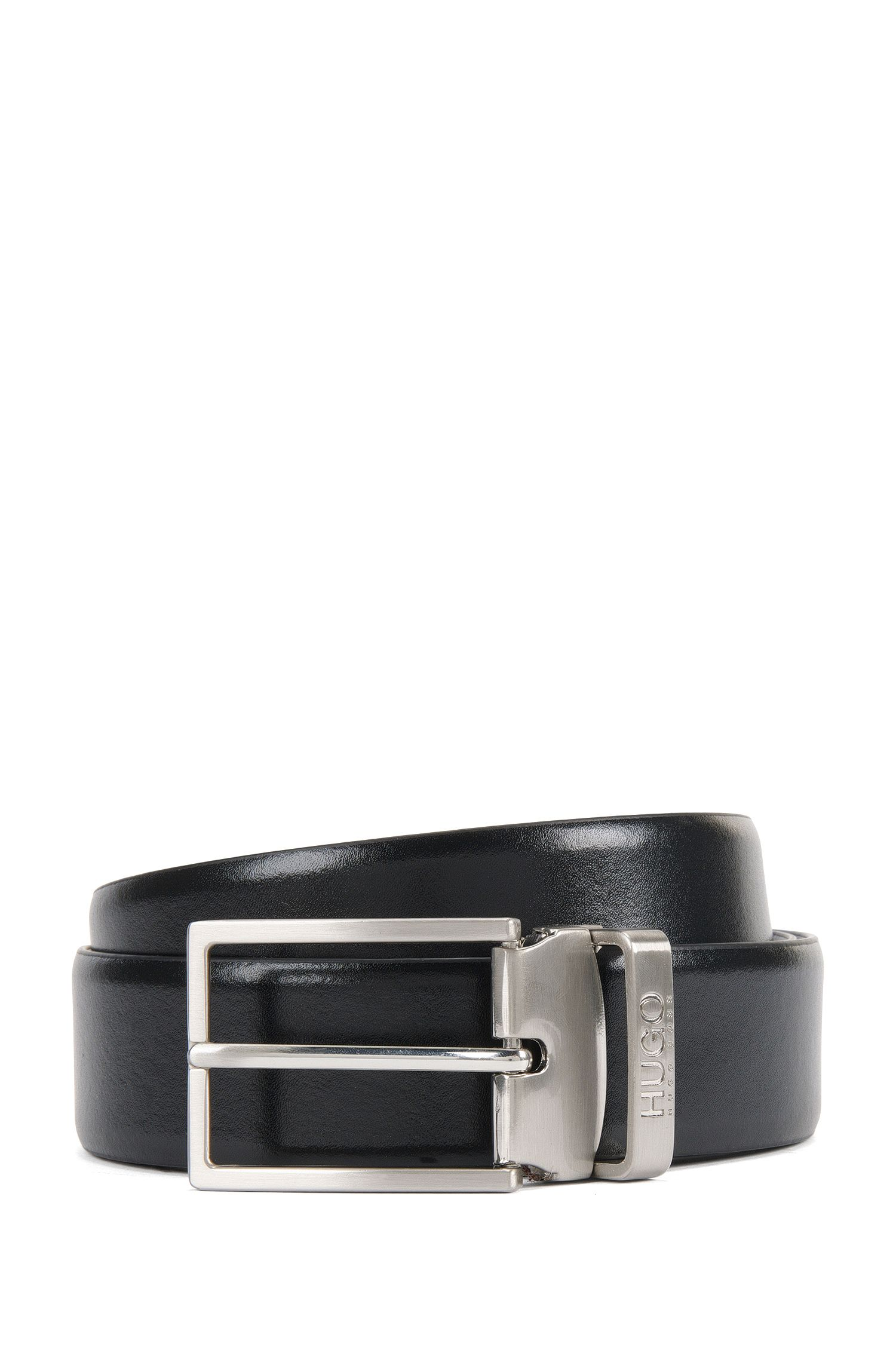 Reversible leather belt with double buckle in brushed metal