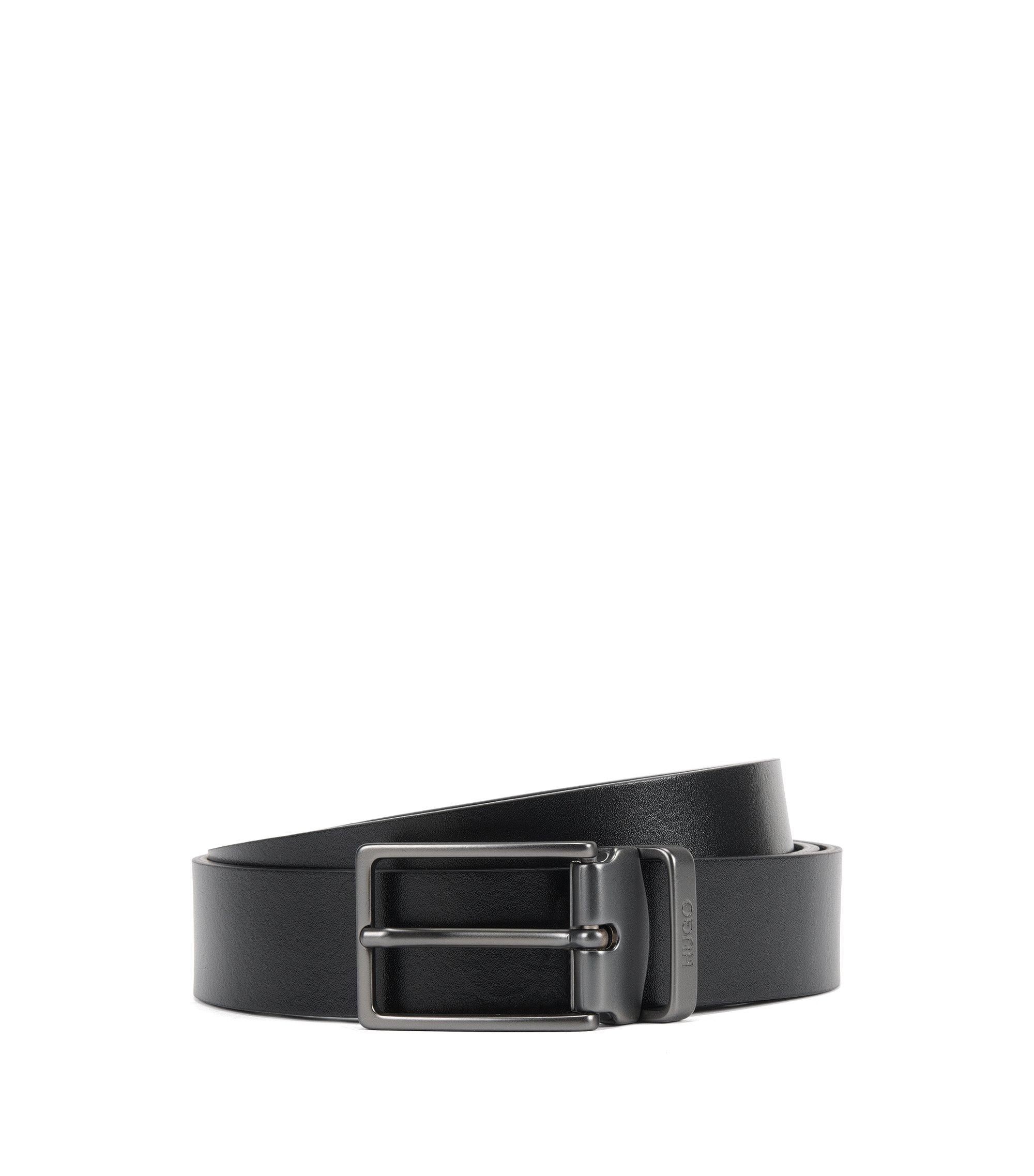 Wendegürtel aus Leder mit zwei Schließen, Schwarz