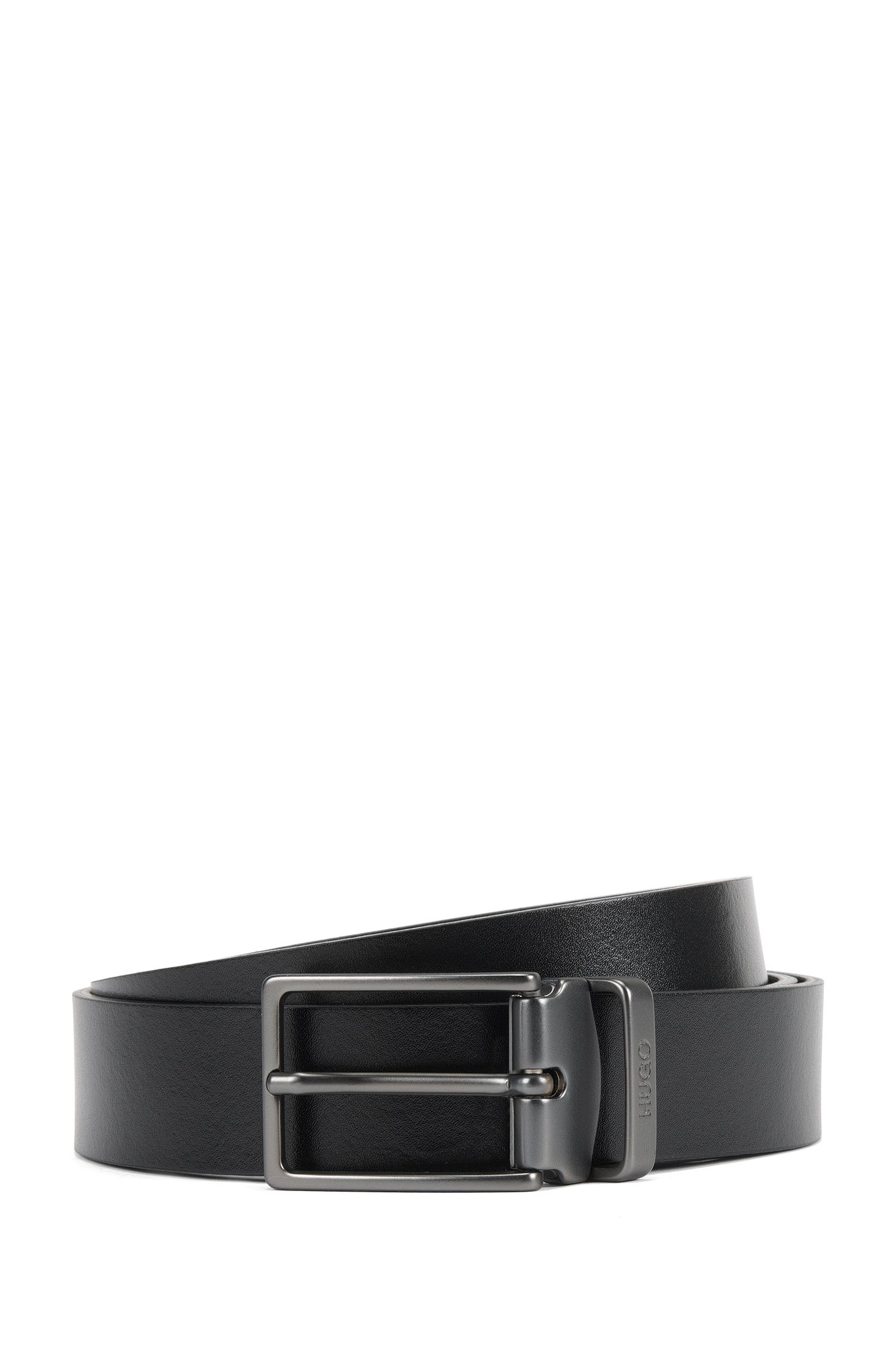 Reversible leather belt with double buckle in matt gunmetal finish