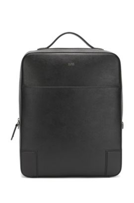 Structured backpack in embossed leather, Black