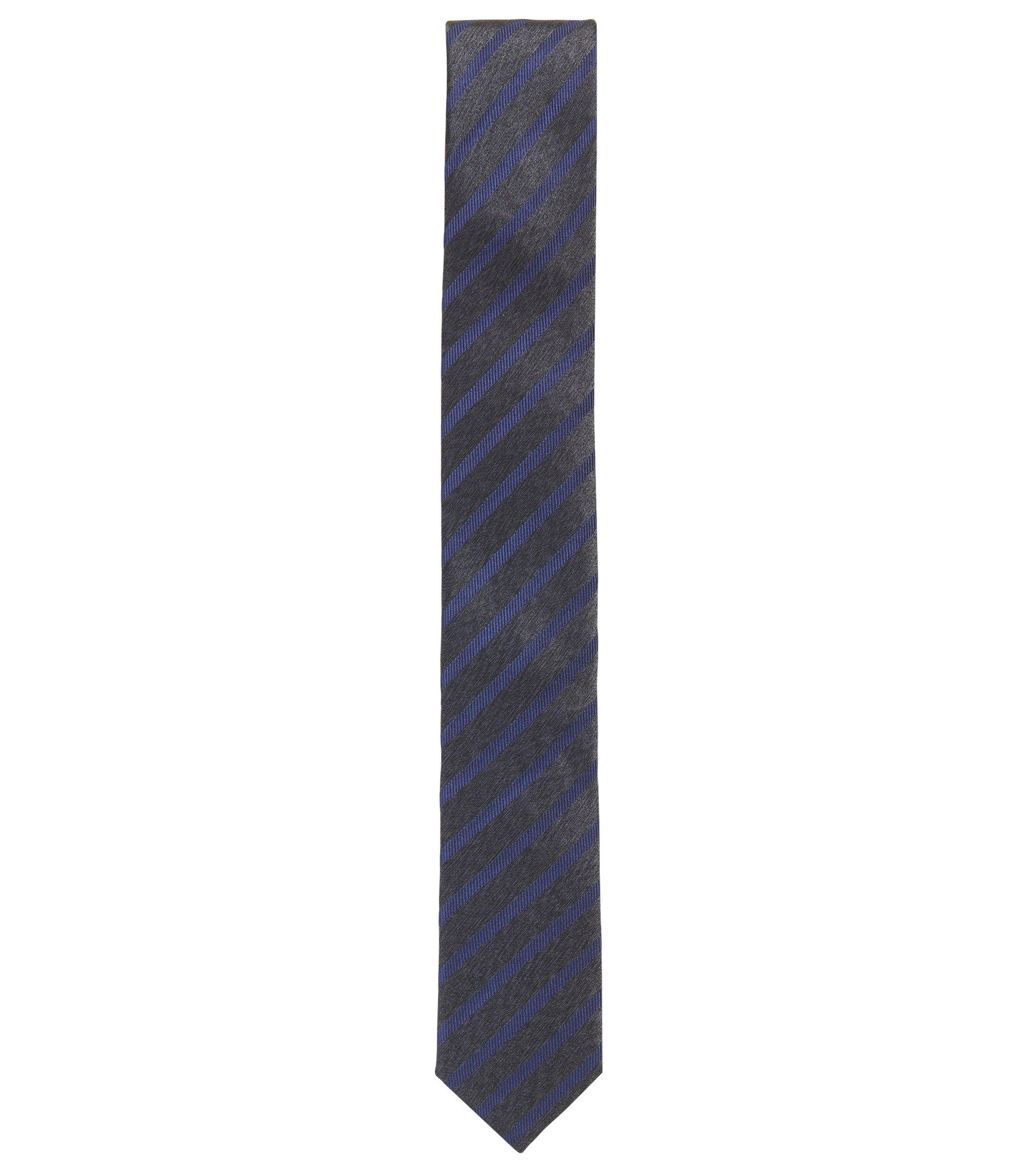 Cravate en jacquard de soie à rayures, Bleu
