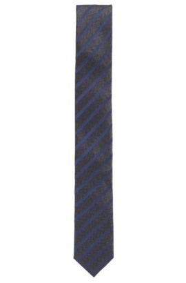 Striped silk jacquard tie, Blue