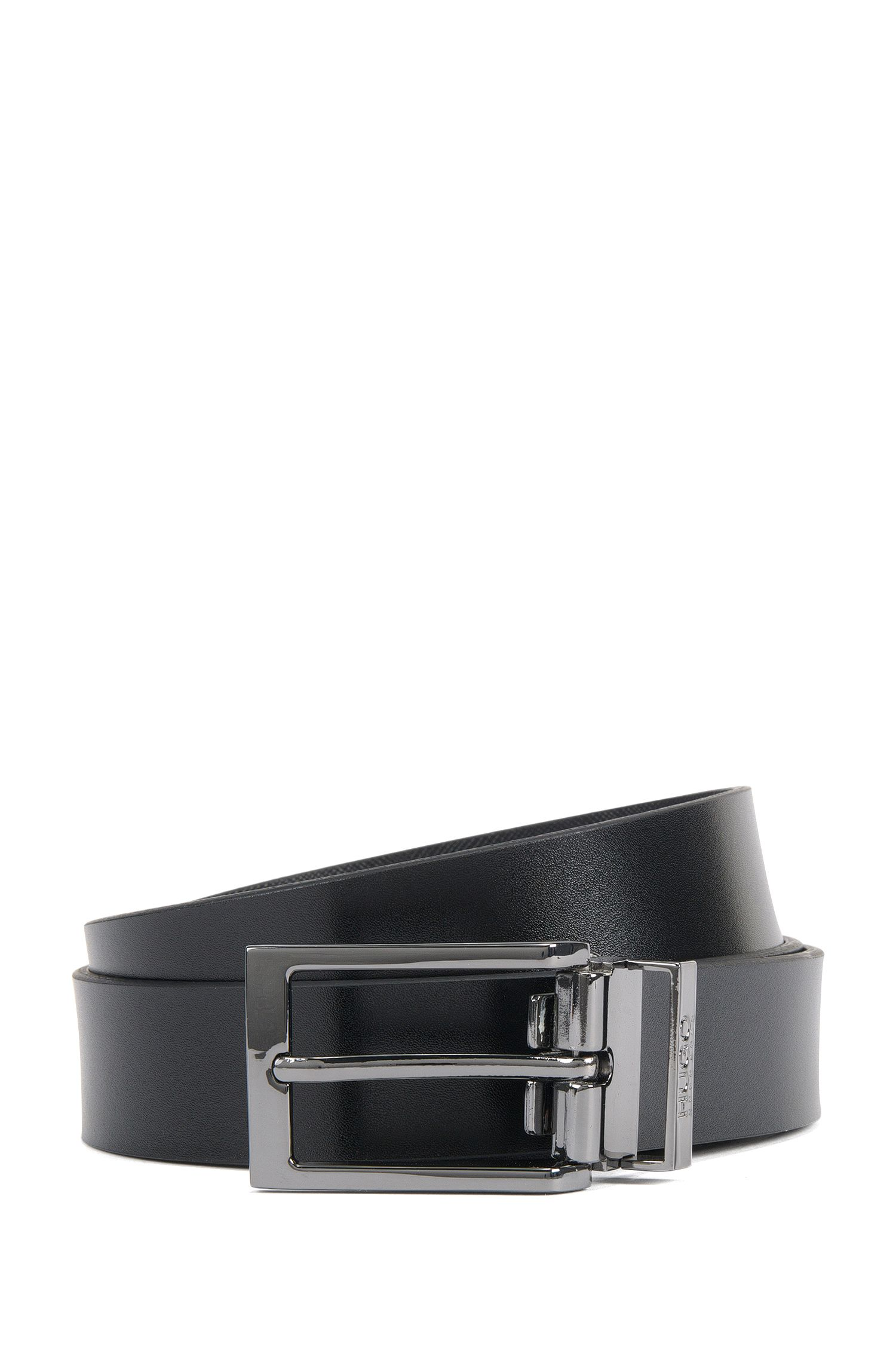 Reversible belt in smooth and Saffiano embossed leather