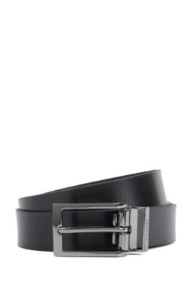 Reversible belt in smooth and Saffiano embossed leather, Black