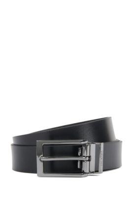 Wendegürtel aus glattem und geprägtem Leder, Schwarz