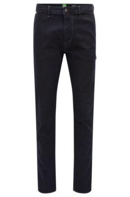 Jeans tapered fit in denim super elasticizzato, Blu scuro
