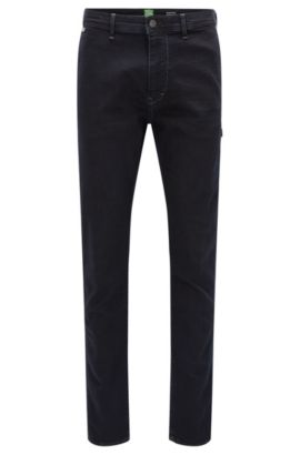 Jeans Tapered Fit en denim power-stretch, Bleu foncé