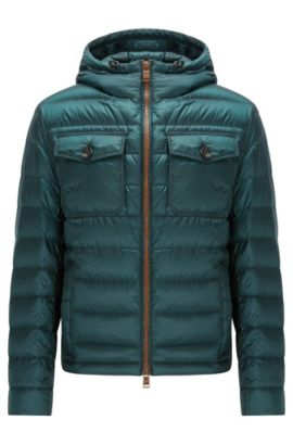 Relaxed-fit down jacket in water-repellent technical fabric, Dunkelgrün