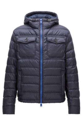 Relaxed-fit down jacket in water-repellent technical fabric, Dark Blue