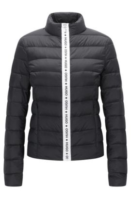 Fitted down jacket with logo zip detail, Black