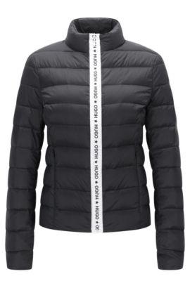 Regular-Fit-Jacke aus wasserabweisendem Material-Mix, Schwarz