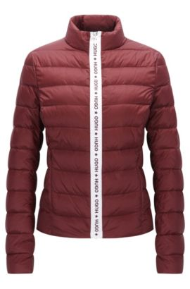 Fitted down jacket with logo zip detail, Dark Red