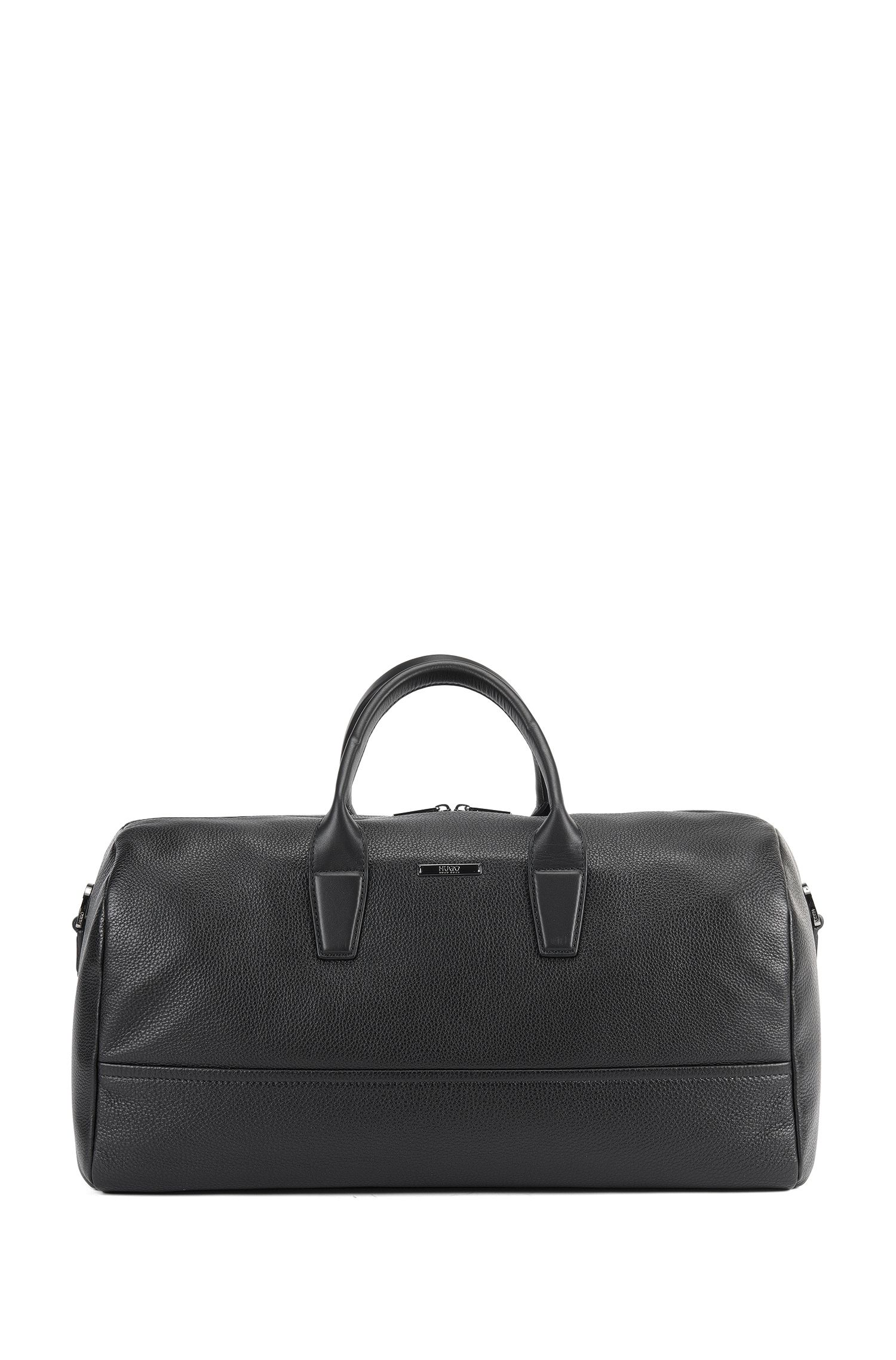 Holdall in grained and smooth leather