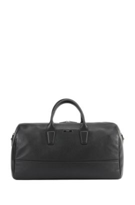 Holdall in grained and smooth leather, Black