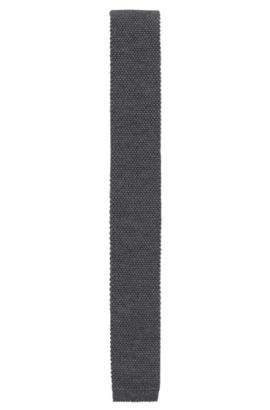 Knitted tie in pure wool, Open Grey
