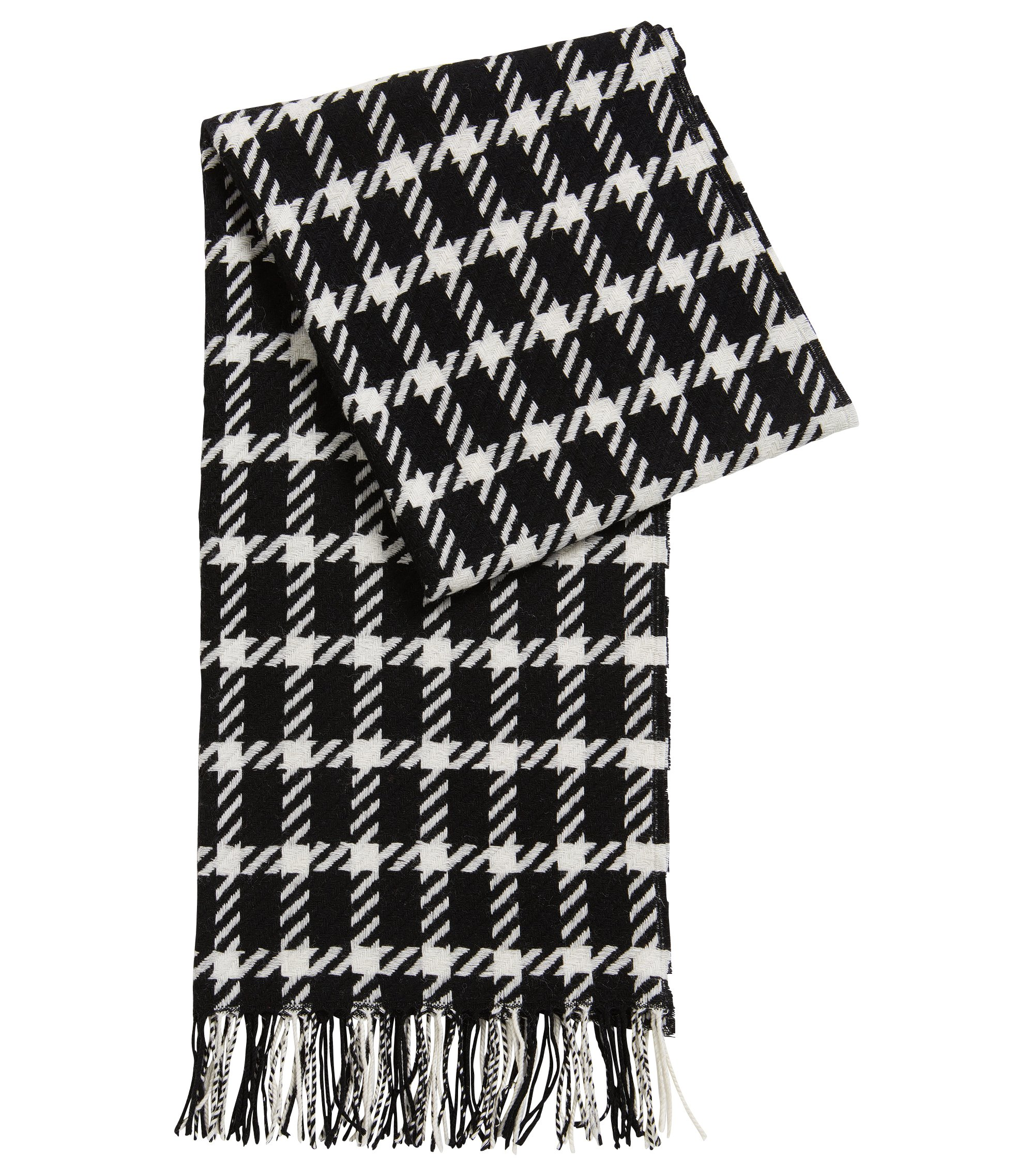 Graphic scarf in virgin wool, Patterned