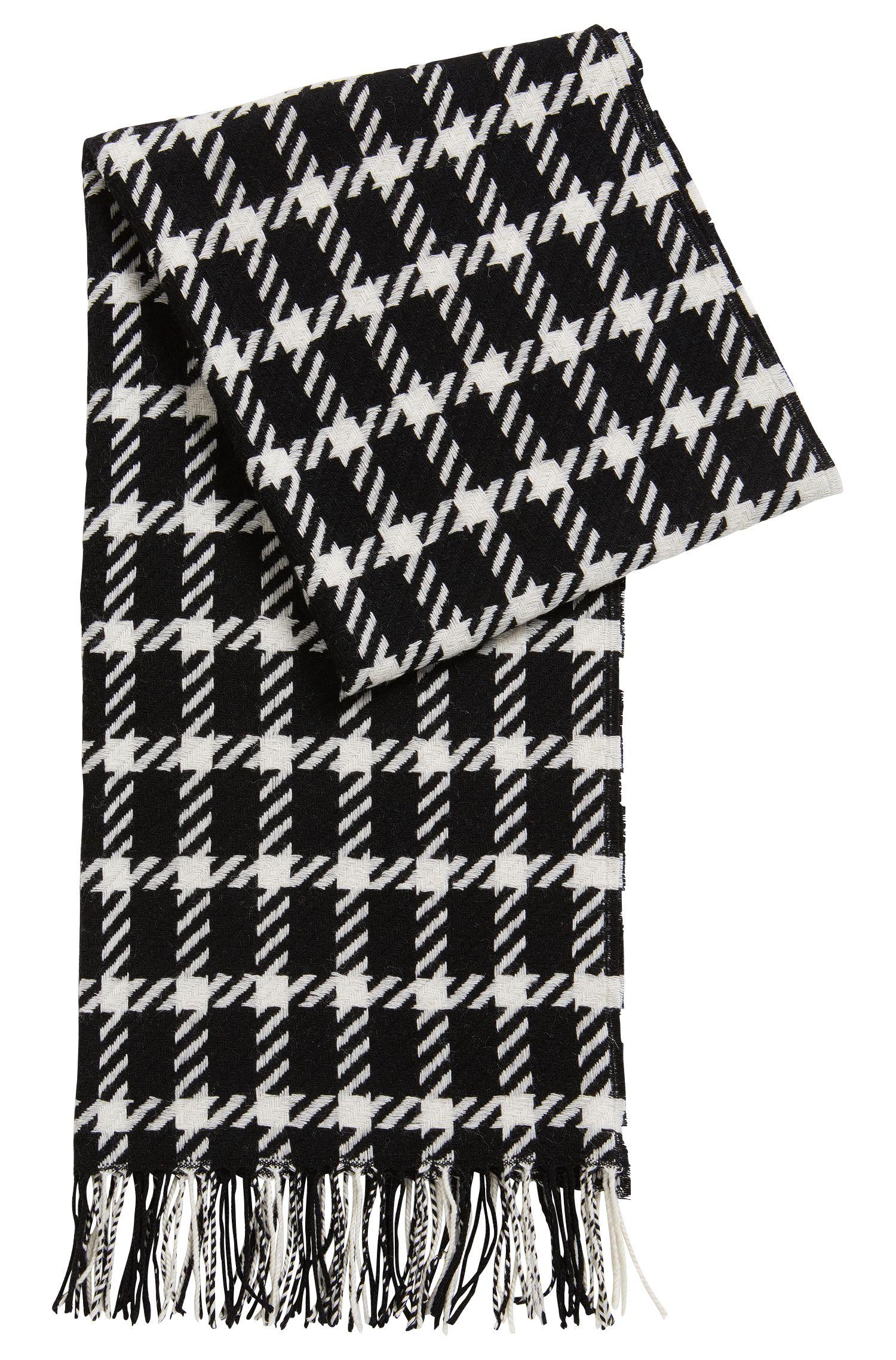 Bufanda de lana virgen con estampado gráfico